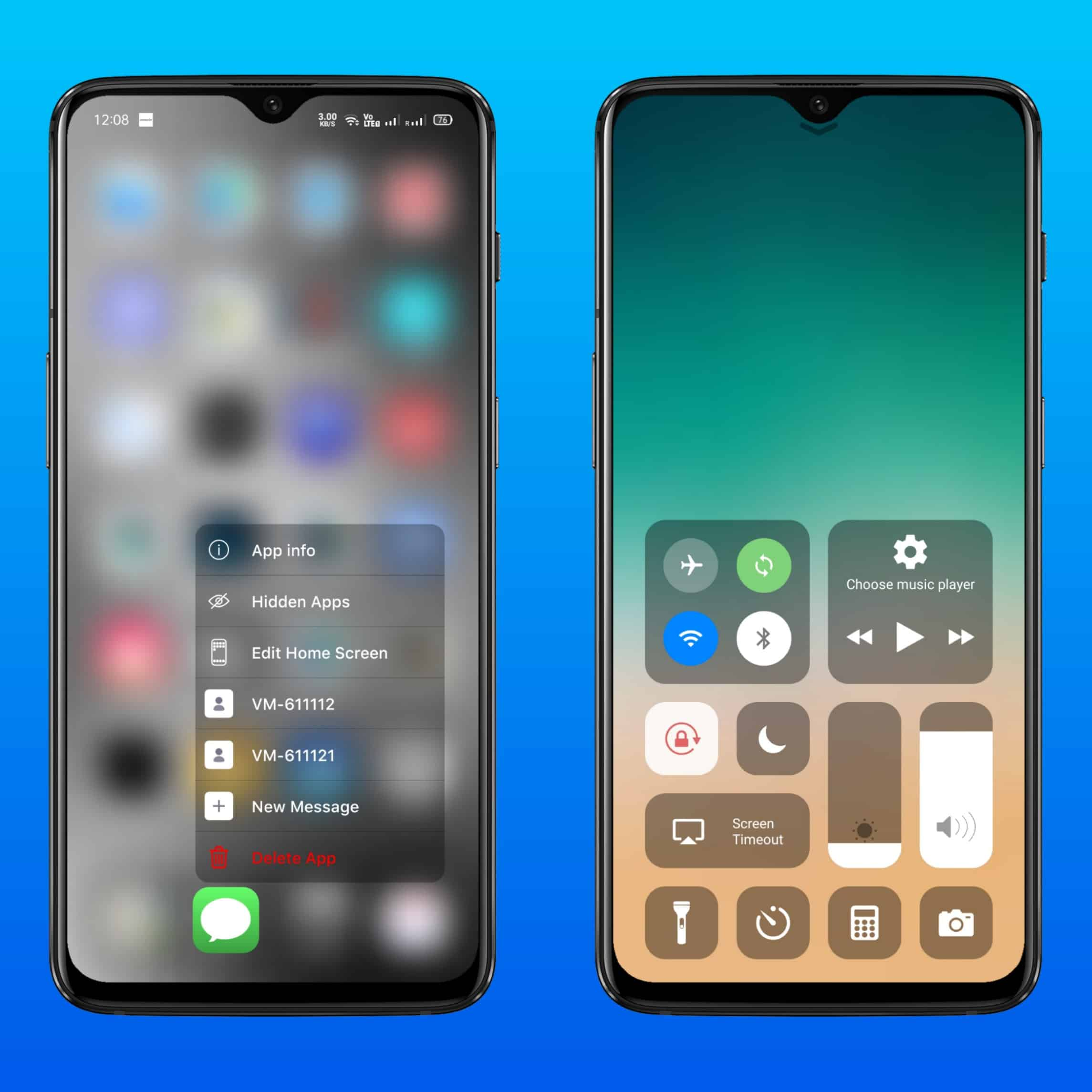 Launcher iOS 13 Control Centre